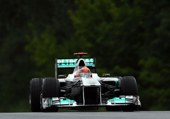BUDAPEST, HUNGARY - JULY 31:  Michael Schumacher of Germany and Mercedes GP drives during the Hungarian Formula One Grand Prix at the Hungaroring on July 31, 2011 in Budapest, Hungary.  (Photo by Lars Baron/Getty Images)