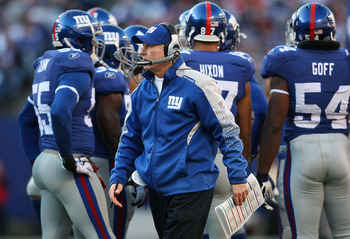 EAST RUTHERFORD, NJ - DECEMBER 27:  Head coach of the New York Giants, Tom Coughlin watches on from the sideline against the Carolina Panthers at Giants Stadium on December 27, 2009 in East Rutherford, New Jersey.  (Photo by Nick Laham/Getty Images)