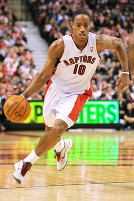 TORONTO, CANADA - FEBRUARY 16:  DeMar DeRozan #10 of the Toronto Raptors drives with the ball in a game against the Miami Heat on February 16, 2011 at the Air Canada Centre in Toronto, Canada. The Heat defeated the Raptors 103-95. (Photo by Claus Andersen