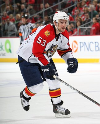 NEWARK, NJ - NOVEMBER 20:  Brett McLean #53 of the Florida Panthers skates against the New Jersey Devils on November 20, 2008 at the Prudential Center in Newark, New Jersey.  (Photo by Bruce Bennett/Getty Images)