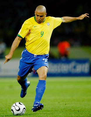 BERLIN - JUNE 13: Ronaldo of Brazil shoots at goal during the FIFA World Cup Germany 2006 Group F match between Brazil and Croatia played at the Olympic Stadium on June 13, 2006 in Berlin, Germany. (Photo by Shaun Botterill /Getty Images)