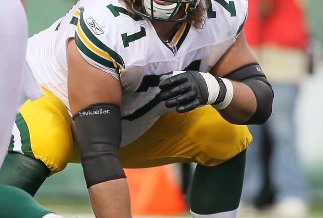 EAST RUTHERFORD, NJ - OCTOBER 31:  Josh Sitton #71 of the Green Bay Packers in action against the New York Jets on October 31, 2010 at the New Meadowlands Stadium in East Rutherford, New Jersey.The Packers defeated the Jets 9-0.  (Photo by Jim McIsaac/Get