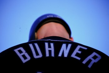 11 Sep 1999:  A close up of Jay Buhner #19 of the Seattle Mariners from behind during the game against the Baltimore Orioles at Camden Yards in Baltimore, Maryland. The Orioles defeated the Mariners 4-2. Mandatory Credit: Doug Pensinger  /Allsport