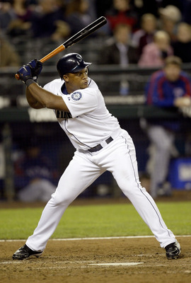 SEATTLE - SEPTEMBER 27:  Adrian Beltre #5 of the Seattle Mariners stands at the plate during their game against the Texas Rangers on September 27, 2005 at Safeco Field in Seattle, Washington.  The Rangers defeated the Mariners 3-2.  (Photo by Otto Greule