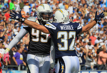 SAN DIEGO - OCTOBER 03:  Eric Weddle #32 of the San Diego Chargers congratulates teammate Shaun Phillips #95 after intercepting a pass for a touchdown in the second quarter against the Arizona Cardinals at Qualcomm Stadium on October 3, 2010 in San Diego,