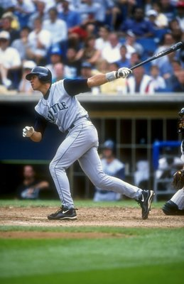 15 Aug 1998:  Short stop Alex Rodriguez #3 of the Seattle Mariners swings at a pitch during a game against the Chicago White Sox at Comiskey Park in Chicago, Illinois. The Mariners defeated the White Sox 13-7. Mandatory Credit: Jonathan Daniel  /Allsport