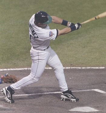 8 Jul 1997:  Edgar Martinez of the American League swings at the ball during the MLB All-Star Game at Jacobs Field in Cleveland, Ohio.  Mandatory Credit: Jed Jacobsohn  /Allsport