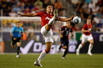 HARRISON, NJ - JULY 27:  Nemanja Vidic #15 of the Manchester United kicks the ball against the MLS All-Stars during the second half of the MLS All-Star Game at Red Bull Arena on July 27, 2011 in Harrison, New Jersey.  (Photo by Mike Stobe/Getty Images for