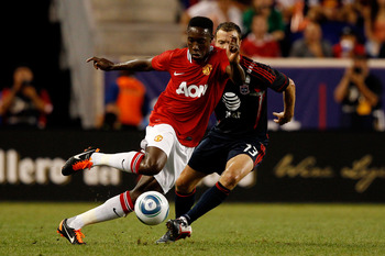 HARRISON, NJ - JULY 27:  Danny Welbeck #19 of the Manchester United controls the ball against Jack Jewsbury #13 of the MLS All-Stars during the MLS All-Star Game at Red Bull Arena on July 27, 2011 in Harrison, New Jersey.  (Photo by Mike Stobe/Getty Image