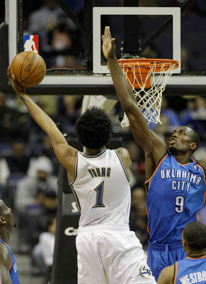 WASHINGTON, DC - MARCH 14: Nick Young #1 of the Washington Wizards puts up a shot in front of Serge Ibaka #9 of the Oklahoma City Thunder during the first half at the Verizon Center on March 14, 2011 in Washington, DC. NOTE TO USER: User expressly acknowl