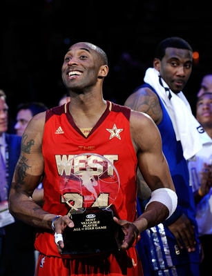LOS ANGELES, CA - FEBRUARY 20:  Kobe Bryant #24 of the Los Angeles Lakers and the Western Conference celebrates after being named MVP for the fourth time in the 2011 NBA All-Star Game at Staples Center on February 20, 2011 in Los Angeles, California. NOTE