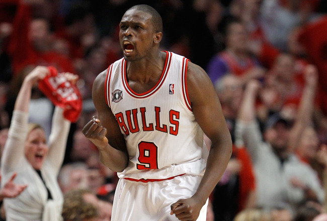 CHICAGO, IL - MAY 15:  Luol Deng #9 of the Chicago Bulls reacts against the Miami Heat in Game One of the Eastern Conference Finals during the 2011 NBA Playoffs on May 15, 2011 at the United Center in Chicago, Illinois. NOTE TO USER: User expressly acknow