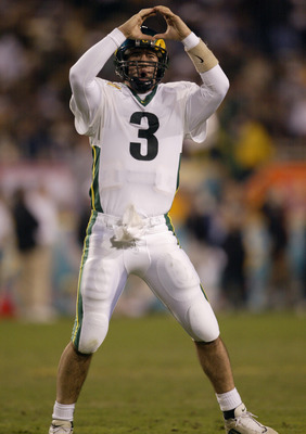 01 Jan 2002 : Joey Harrington of Oregon celebrates his third quarter touchdown against Colorado during the game at the  Fiesta Bowl at Sun Devil Stadium in Tempe, Arizona. The Oregon Ducks won 38-16. DIGITAL IMAGE. Mandatory Credit: Brian Bahr/Getty Image