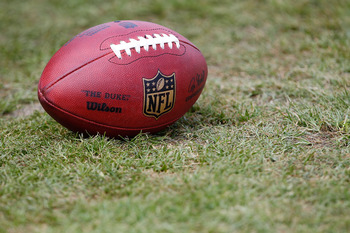 LATROBE, PA - JULY 29:  An NFL football sits on the practice field during the Pittsburgh Steelers training camp on July 29, 2011 at St Vincent College in Latrobe, Pennsylvania.  (Photo by Jared Wickerham/Getty Images)