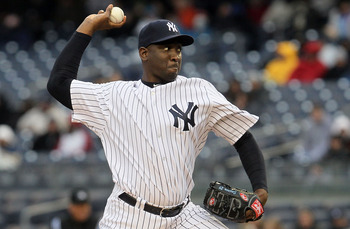 NEW YORK, NY - APRIL 16:  Rafael Soriano #29 of the New York Yankees pitches during the eighth inning against the Texas Rangers on April 16, 2011 at Yankee Stadium in the Bronx borough of New York City. The Yankees defeated the Rangers 5-2.  (Photo by Jim