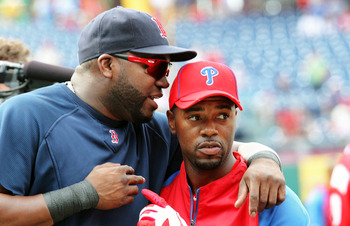 PHILADELPHIA - JUNE 29:  Jimmy Rollins #11 of the Philadelphia Phillies greets David Ortiz #34 of the Boston Red Sox during batting practice at Citizens Bank Park on June 29, 2011 in Philadelphia, Pennsylvania.  (Photo by Len Redkoles/Getty Images)
