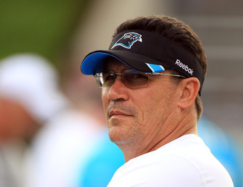 SPARTANBURG, SC - JULY 30:  Head coach Ron Rivera of the Carolina Panthers watches on during training camp at Wofford College on July 30, 2011 in Spartanburg, South Carolina.  (Photo by Streeter Lecka/Getty Images)