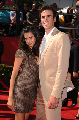 LOS ANGELES, CA - JULY 14:  Actress Noureen DeWulf and NHL goalie Ryan Miller arrive at the 2010 ESPY Awards at Nokia Theatre L.A. Live on July 14, 2010 in Los Angeles, California.  (Photo by Jason Merritt/Getty Images)