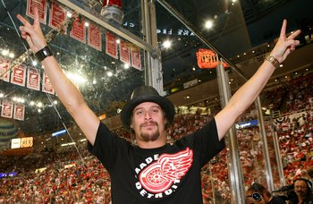 DETROIT - JUNE 02:  Musician Kid Rock attends game five of the 2008 NHL Stanley Cup Finals between the Detroit Red Wings and the Pittsburgh Penguins at Joe Louis Arena on June 2, 2008 in Detroit, Michigan.  The Penguins defeated the Red Wings 4-3 in tripl