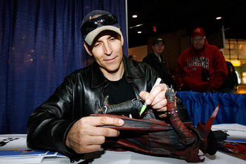 ATLANTA - JANUARY 26:  Comic book artist Todd McFarlane signs autographs during the NHL All-Star trading card and memorabilia show as part of the 2008 NHL All-Star weekend at CNN Center Atrium on January 26, 2008 in Atlanta, Georgia.  (Photo by Kevin C. C