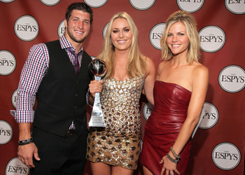 LOS ANGELES, CA - JULY 13:  (L-R) NFL player Tim Tebow, ESPY winner of Best Female Athlete Olympic downhill skier Lindsey Vonn and actress/model Brooklyn Decker attend The 2011 ESPY Awards at Nokia Theatre L.A. Live on July 13, 2011 in Los Angeles, Califo