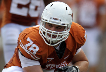 AUSTIN, TX - SEPTEMBER 25:  Center David Snow #78 of the Texas Longhorns at Darrell K Royal-Texas Memorial Stadium on September 25, 2010 in Austin, Texas.  (Photo by Ronald Martinez/Getty Images)