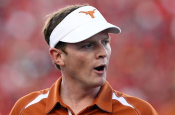 LUBBOCK, TX - SEPTEMBER 18:  Assistant head coach Major Applewhite of the Texas Longhorns at Jones AT&T Stadium on September 18, 2010 in Lubbock, Texas.  (Photo by Ronald Martinez/Getty Images)