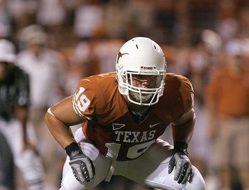 AUSTIN, TX - SEPTEMBER 8:  Blaine Irby #19 of the Texas Longhorns lines up in position during their game against the TCU Horned Frogs on September 8, 2007 at Darren K. Royal Stadium in Austin, Texas.  Texas won 34-13. (Photo by Brian Bahr/Getty Images)