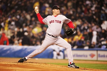 NEW YORK - OCTOBER 19:  Pitcher Curt Schilling #38 of the Boston Red Sox throws a pitch against the New York Yankees in the first inning during game six of the American League Championship Series on October 19, 2004 at Yankee Stadium in the Bronx borough