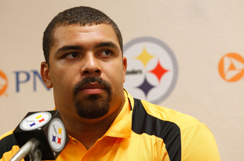 LATROBE, PA - JULY 29:  Pittsburgh Steelers first round draft pick Cameron Heyward #95  speaks during a press conference after signing with the team during training camp on July 29, 2011 at St Vincent College in Latrobe, Pennsylvania.  (Photo by Jared Wic