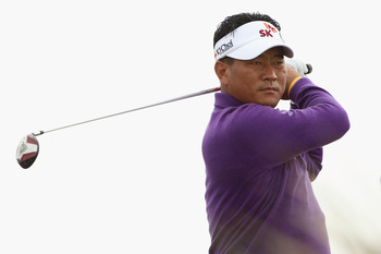 SANDWICH, ENGLAND - JULY 13:  K.J. Choi of South Korea hits a shot during the final practice round during The Open Championship at Royal St. George's on July 13, 2011 in Sandwich, England. The 140th Open begins on July 14, 2011..  (Photo by Andrew Redingt