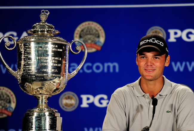 KOHLER, WI - AUGUST 15:  Martin Kaymer of Germany sits next to the Wanamaker Trophy while he is interviewed during a press conference after winning the 92nd PGA Championship on the Straits Course at Whistling Straits on August 15, 2010 in Kohler, Wisconsi