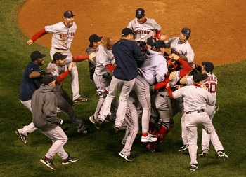 DENVER - OCTOBER 28:  The Boston Red Sox celebrate after defeating the Colorado Rockies in Game Four of the 2007 World Series at Coors Field on October 28, 2007 in Denver, Colorado  The Red Sox defeated the Rockies 4-3 and won the World Series 4-0.  (Phot