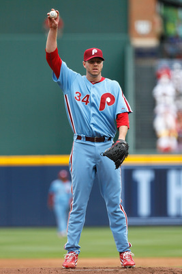 ATLANTA, GA - MAY 15:  Roy Halladay #34 of the Philadelphia Phillies against the Atlanta Braves at Turner Field on May 15, 2011 in Atlanta, Georgia.  (Photo by Kevin C. Cox/Getty Images)