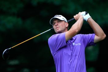 AKRON, OH - AUGUST 06:  Steve Stricker hits his tee shot on the second hole during the third round of the World Golf Championships-Bridgestone Invitational on the South Course at Firestone Country Club on August 6, 2011 in Akron, Ohio.  (Photo by Sam Gree
