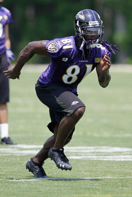 OWINGS MILLS, MD - JULY 29: Wide receiver Anquan Boldin #81 of the Baltimore Ravens runs a drill during training camp on July 29, 2011 in Owings Mills, Maryland.  (Photo by Rob Carr/Getty Images)
