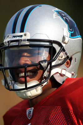 SPARTANBURG, SC - AUGUST 03:  Cam Newton #1 of the Carolina Panthers smiles during training camp at Wofford College on August 3, 2011 in Spartanburg, South Carolina.  (Photo by Streeter Lecka/Getty Images)