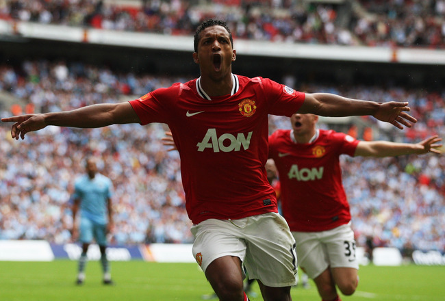 LONDON, ENGLAND - AUGUST 07:  Nani of Manchester United celebrates scoring the equalising goal during the FA Community Shield match sponsored by McDonald's between Manchester City and Manchester United at Wembley Stadium on August 7, 2011 in London, Engla