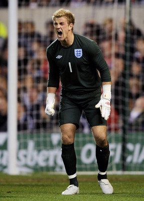 NOTTINGHAM, UNITED KINGDOM - MARCH 31:  Joe Hart of England screams at his defence during the Friendly International match between England U21 and France U21 at the City Ground on March 31, 2009 in Nottingham, England.  (Photo by Shaun Botterill/Getty Ima