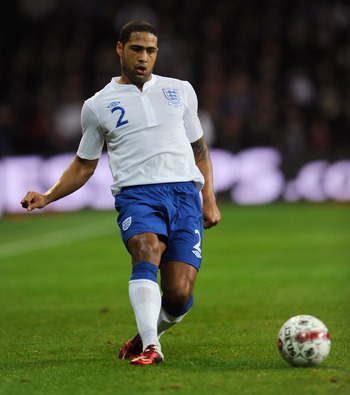 COPENHAGEN, DENMARK - FEBRUARY 09: Glen Johnson of England in action during the international friendly match between Denmark and England at Parken Stadium on February 9, 2011 in Copenhagen, .  (Photo by Michael Regan/Getty Images)