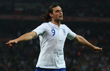 LONDON, ENGLAND - MARCH 29:  Andy Carroll of England celebrates as he scores their first goal during the international friendly match between England and Ghana at Wembley Stadium on March 29, 2011 in London, England.  (Photo by Julian Finney/Getty Images)