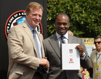 CANTON, OH - AUGUST 05: Commissioner of the National Football League, Roger Goodell and Director of the National Football League Players' Association, DeMaurice Smith pose with the new Collective Bargaining Agreement on the front steps of the Pro Football