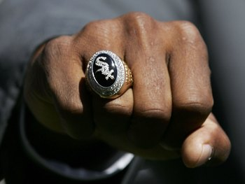 CHICAGO - APRIL 04: General Manager Ken Williams of the Chicago White Sox shows off his World Series Championship ring during ceremonies prior to the start of a game against the Cleveland Indians on April 4, 2006 at U.S. Cellular Field in Chicago, Illinoi