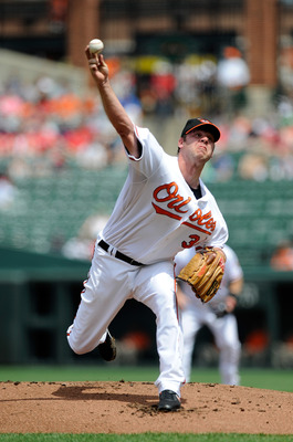 BALTIMORE - MAY 02:  Kevin Millwood #34 of the Baltimore Orioles pitches against the Boston Red Sox at Camden Yards on May 2, 2010 in Baltimore, Maryland.  (Photo by Greg Fiume/Getty Images)
