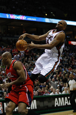 MILWAUKEE, WI - APRIL 24: Jerry Stackhouse #24 of the Milwaukee Bucks jumps in the air to shoot the basketball against the Atlanta Hawks during Game Three of Eastern Conference Quarterfinals of the 2010 NBA Playoffs at the Bradley Center on April 24, 2010