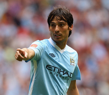 LONDON, ENGLAND - AUGUST 07:  David Silva of Manchester City gestures during the FA Community Shield match sponsored by McDonald's between Manchester City and Manchester United at Wembley Stadium on August 7, 2011 in London, England.  (Photo by Ian Walton