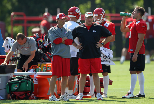 SAINT JOSEPH, MO - JULY 31:  General Manager Scott Pioli watches from the sidelines during Kansas City Chiefs Training Camp on July 31, 2011 in Saint Joseph, Missouri.  (Photo by Jamie Squire/Getty Images)
