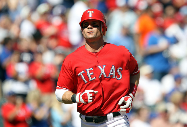 ARLINGTON, TX - JUNE 25:  Michael Young #10 of the Texas Rangers at Rangers Ballpark in Arlington on June 25, 2011 in Arlington, Texas.  (Photo by Ronald Martinez/Getty Images)