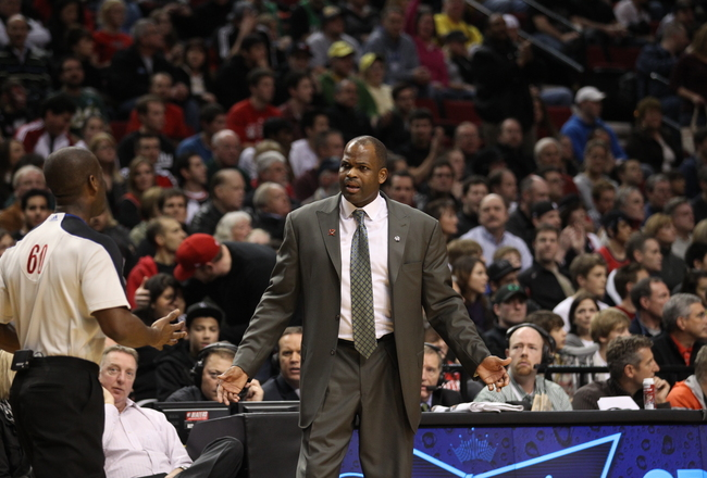 PORTLAND, OR - JANUARY 09: Head coach Nate McMillan of the Portland Trail Blazers argues a call during the game against the Miami Heat during a game on January 9, 2011 at the Rose Garden Arena in Portland, Oregon. NOTE TO USER: User expressly acknowledges