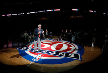 AUBURN HILLS, MI - MARCH 29:  Jack McCloskey, former general manager of the Detroit Pistons speaks as he is honored at a ceremony during halftime against the Cleveland Cavaliers at the Palace of Auburn Hills on March 29, 2008 in Auburn Hills, Michigan.  N